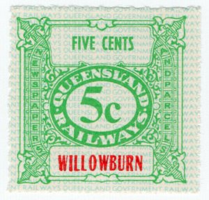 (I.B) Australia - Queensland Railways : Parcel Stamp 5c (Willowburn)