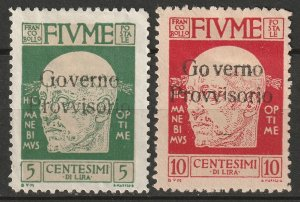 Fiume 1921 Sc 134-5 MNG