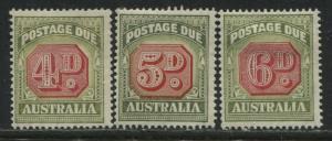 Australia 1947-52 Postage Dues 4d to 6d mint o.g.