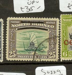 NORTH BORNEO (P0601B) CYPHER  25C  BAR VARIETY  SG345B  VFU