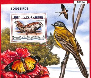 A0954 - MALDIVES - ERROR  MISPERF SHEET - 2014  BIRDS   ПТИЦЫ