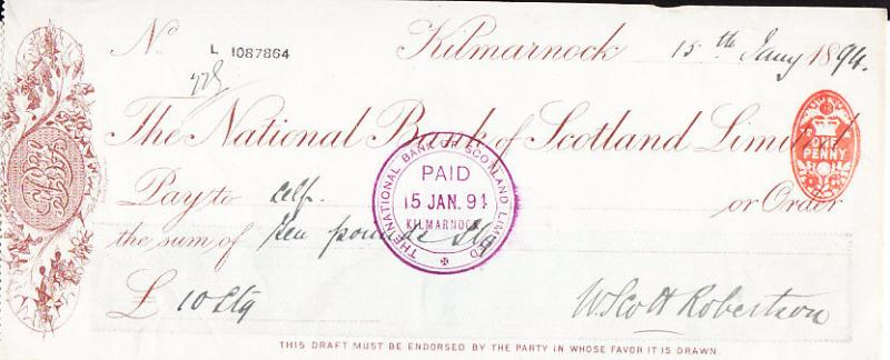 Bank Check with Embossed Revenue 1891