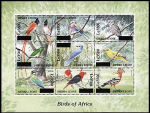 Sierra Leone Birds of Africa Sheetlet of 9 overprinted RARR MI#5058-5066