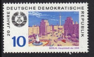 Germany  DDR  1969 MNH DDR 20years 10Pf  Berlin  #