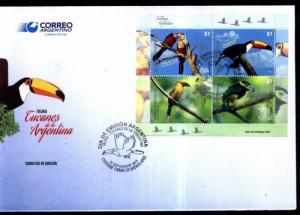 ARGENTINA 2015, FAUNA BIRDS TUCANS CAMELIDS, 2 MINISHEET YV 3085-92 FDC