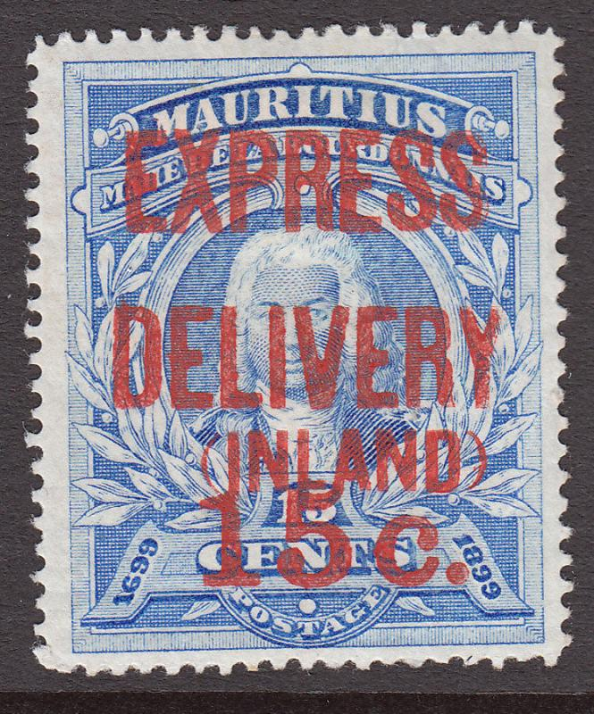 Mauritius EVII 1903 Express Delivery Stamp SG E2 Red on Ultramarine Mint CV £65