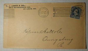 US Sc# 219 Used On Cover OJ Lewis & Co St Louis MO 1895 Machine & Hand Cancel