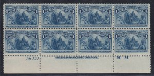 230 VF+ plate block of 8 OG mint never hinged nice color scarce ! see pic !