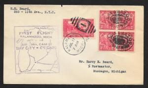 UNITED STATES First Flight Cover 1928 Kalamazoo to Muskegon