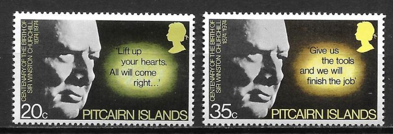 Pitcairn Islands 144-45 Churchill set MNH