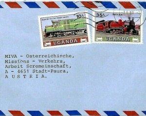 Uganda Air Mail Cover *Railway Trains* MISSIONARY MIVA AUSTRIA 1988 CS296