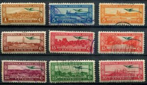 Guatemala SC# C47, C52-7, 60-3 Quetzal and  Views MH & Used SCV $5.25