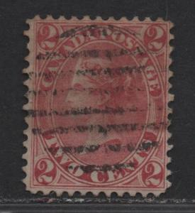 $Canada Sc#20 used, fine, sound stamp, Cv. $300