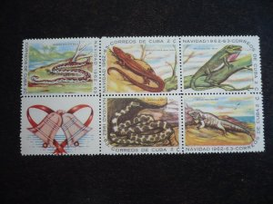 Stamps - Cuba - Scott# 764a - Mint Hinged Block of 5 Stamps plus 1 Label