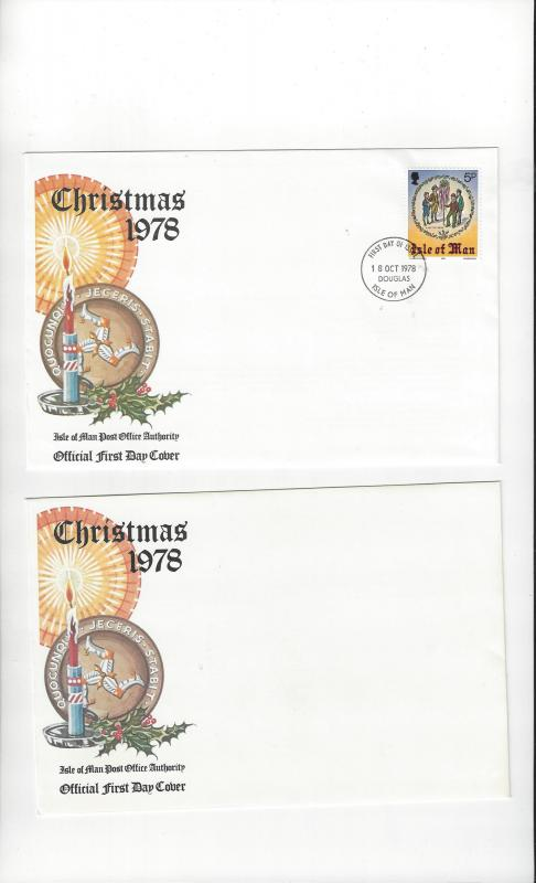 Isle of Man FDC  Christsmas 1978 Issue Official Cover