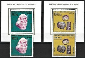 1989 Madagascar Beautiful Minerals and Gemstones, 2 Sheets+2 Stamps VF/MNH!
