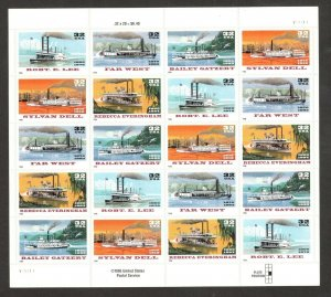 3091-95 Riverboats Sheet Of 20 Mint/nh Selling At Face