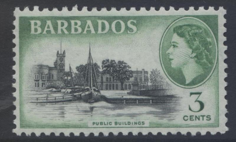 Barbados - Scott 237 -  QEII - Definitive -1953 - MVLH -Single 3c Stamp