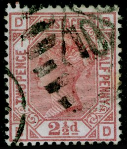 SG139, 2½d rosy mauve plate 1, USED. Cat £120. WMK ANCHOR.
