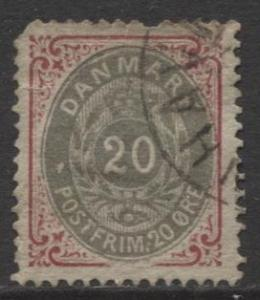 Denmark - Scott 31 - Definitive Issue -1875 - Used - Single 20s Stamp
