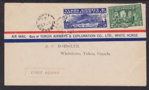 Canada Sc CL42 on 1928 Yukon Air First Flight Cover, Carcross to Whitehorse