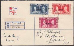 NIUE 1937 Coronation set on Registered LAST DAY COVER 31 Dec 1937..........C657