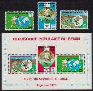 Benin World Cup Football Championship Argentina 3v+MS 1978 MNH SG#695-MS698