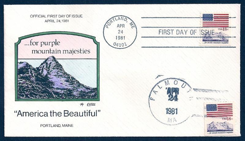 UNITED STATES FDCs (3) Beautiful America 1981 Collins H-P