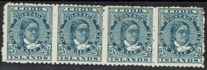 COOK ISLANDS 1902 QUEEN 21/2D MNH ** STRIP NO WMK PERF 11