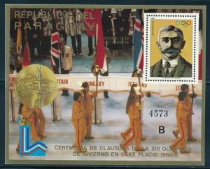 Paraguay- Lake Placid Olympic Games MNH Closing Ceremony Sheet B (1980)