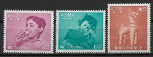 1957 India 292-4 Children Day MH C/S of 3