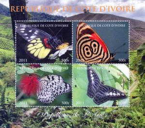 Ivory Coast 2011 Butterflies of Asia   Shlt (4) Perf.MNH