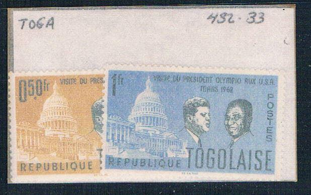 Togo 432-33 Unused JFK 1962 (T0063)