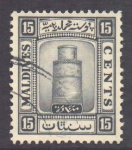 Maldive Is Scott 16 - SG17a, 1933 Minaret 15c Upright watermark used