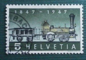 SWITZERLAND * 1847-1947 Centenary of Swiss Railway Stamp, franked,