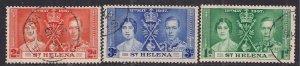 St Helena 1937 KGV1 Set Coronation used SG 128 - 130 ( F18 )