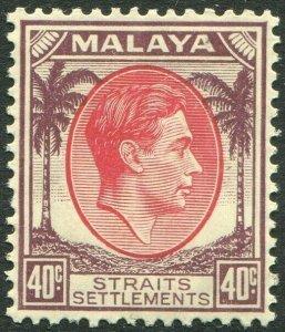 STRAITS SETTLEMENTS-1937 40c Scarlet & Dull Purple Sg 288 streaky gum UM V50216