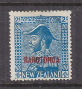 COOK ISLANDS, 1927 Rarotonga on New Zealand 2s. Admiral, thick paper,heavy hinge