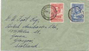 Bechuanaland 1d and 1 1/2d KGVI Cattle and Baobab Tree 1942 H.O. Mafeking, Be...