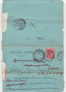England 1909 Cirencester Cancel 2 Pages Long Stamp Letter Card Ref 34871