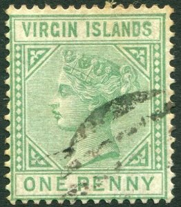 BRITISH VIRGIN ISLANDS-1880 1d Emerald-Green Sg 24 GOOD USED  V33626