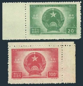 Viet Nam 59-60, MNH. Mi 61-62. Democratic Republic, 12th Ann.1957. Coat of Arms.