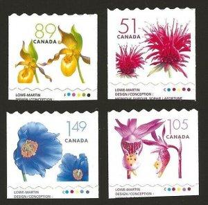 Canada 2005-2006 Flowers Coil Set #2128-2131 VF-NH CV $7.90