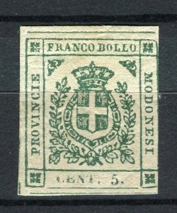ITALY; MODENA 1859 classic Savoy Arms issue Imperf used 5c. value + Cert.