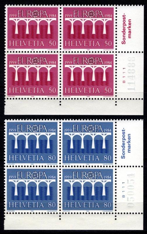 Switzerland 1984 Europa. 25th Anniv. of Euro Post and Telecom. Plate Block Set