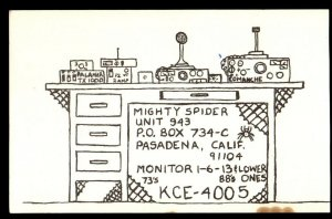 QSL QSO RADIO CARD Mighty Spider,KCE-4005,Gold Coast of Southern CA, (Q3705)
