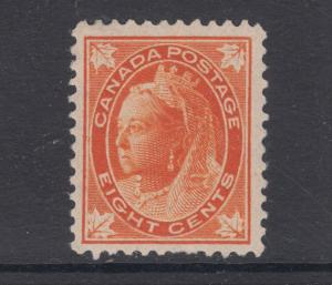 Canada Sc 72 MLH. 1897 8c orange Queen Victoria Maple Leaf, VF