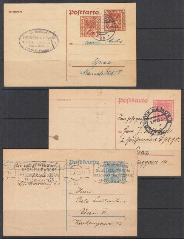 Austria Mi P256, P259, P262 used 1922 Postal Cards, 3 diff F-VF