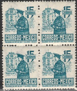 MEXICO 825, 15c Postman. Block 4. MINT, NH. VF. (267)