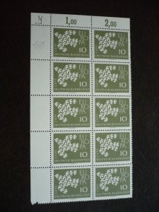 Europa 1961 - Germany - Corner Block of 10 Fluorescent Issue